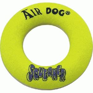 "Picture of Kong Air Squeaker Donut Dog Toy Large Yellow 10"" x 6.5"" x 2.3"""
