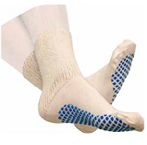 Picture of Diabetic Slipper Socks With Grip Soles Ladies White Size 9-11