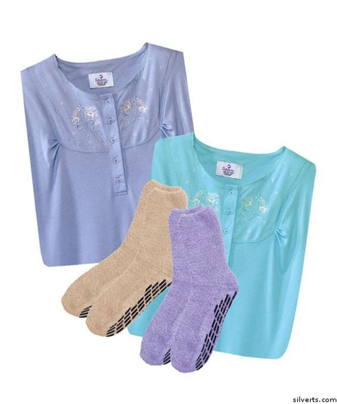 Picture of Gift Pack - 2 Socks - Non Skid & 2 Pretty Cotton Gowns